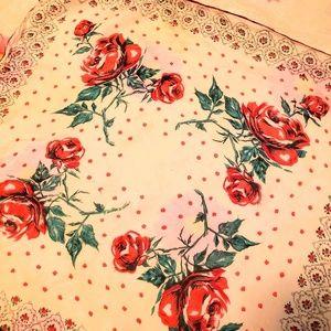 "22"" square vintage rose print scarf"